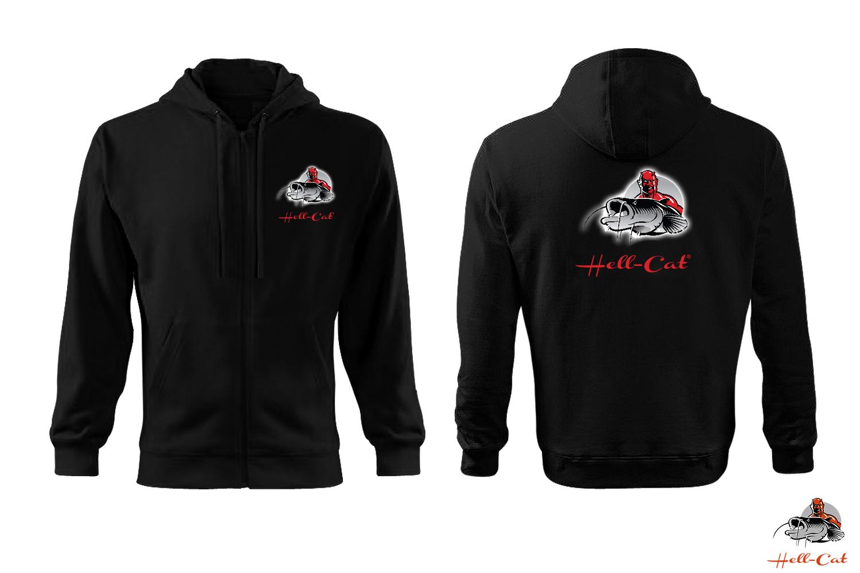 Hell-Cat - Mikina černá s kapucí a zipem  41c4337163