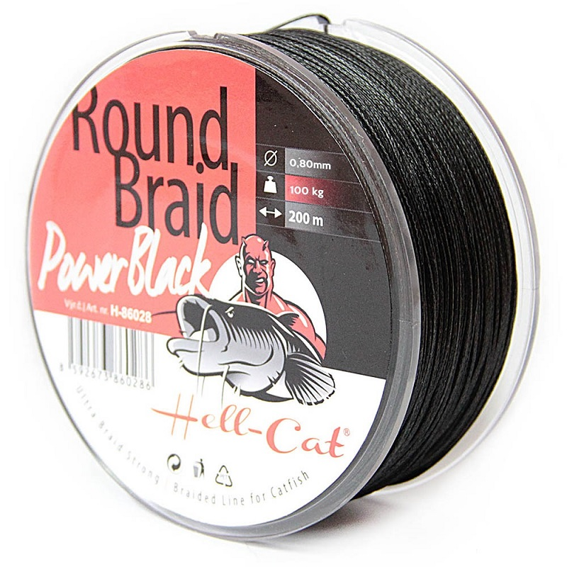 Hell-Cat - Spletená šňůra Round Braid Power černá 0,60mm - 75kg - 200m