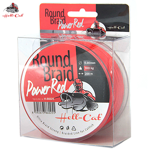 Hell-Cat - Šňůra  Round Braid Power červená 0,80mm - 100kg - 200m