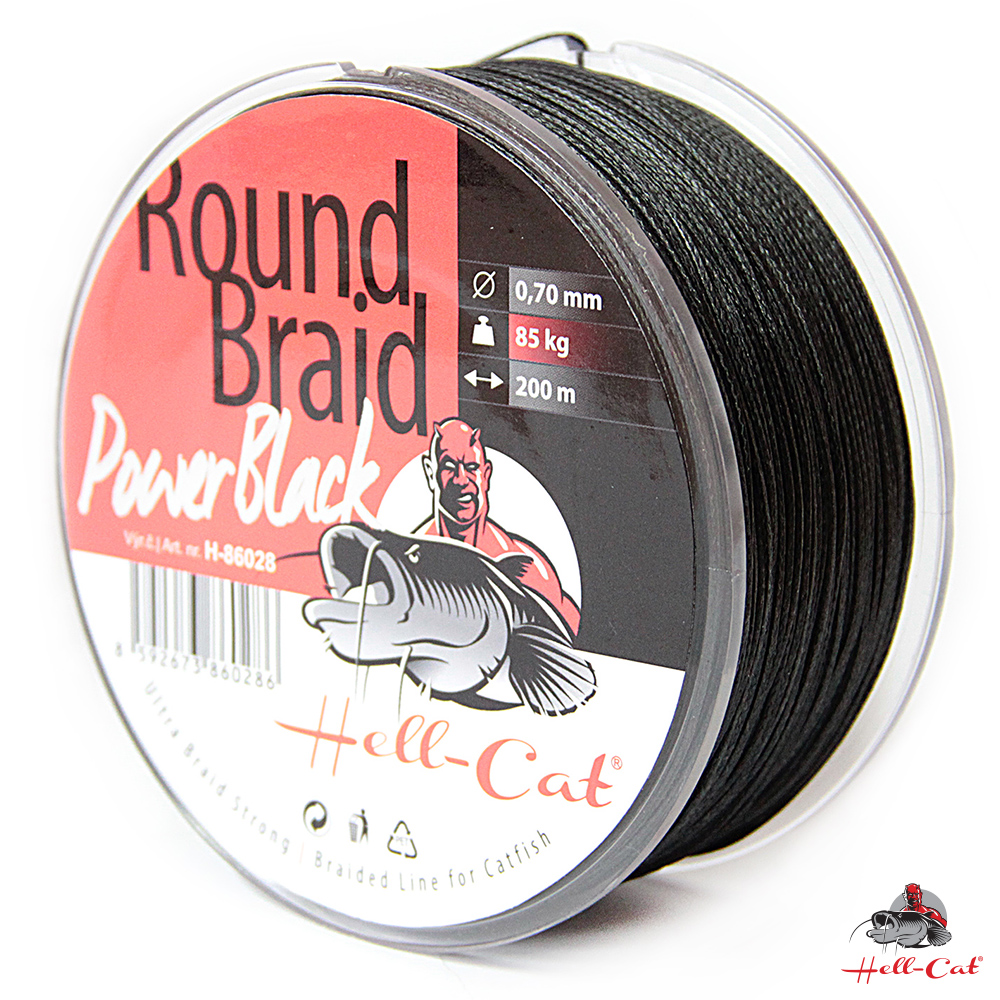 Hell-Cat - Spletená šňůra Round Braid Power černá 0,70mm - 85kg - 200m