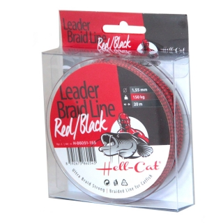 Hell-Cat - Návazcová šňůra Leader Braid Line Red/Black 1,40mm - 20m - 125kg